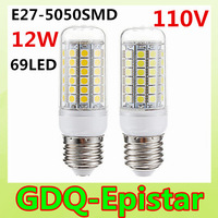 2pcs New Arrival 69LEDs SMD 5050 12W E27 LED Corn Bulb AC 110V  Ultra Bright  LED lamp Spot light Chandelier lighting