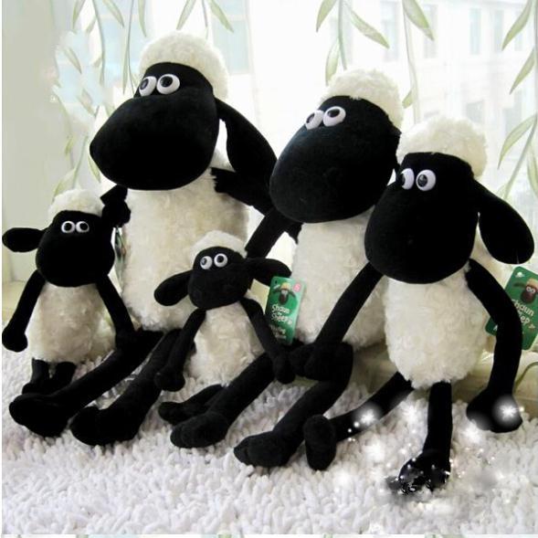 25CM Black and White Sean Sheep Children Knapsack Kawaii Backpack Stuffed Animals Plush Toys Free Shipping PT088(China (Mainland))