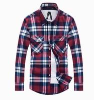 11colors M-XXL 2014 Mens Multicolor Plaid Casual shirts Winter Men's warm Slim Fit dress shirt Long sleeved Male Korean shirt