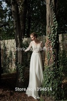 Berta 2015 New Custom Size A-Line Scoop Long Sleeve Bridal Gowns Backless Sweep Train Appliques Chiffon Lace Wedding Dresses