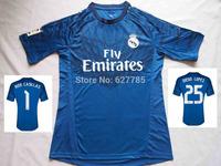 2015 Real Madrid Goalkeeper Blue Iker Casillas Soccer Jersey A+++ 14 15 Camiseta 25 Diego Lopez Football Shirt Free Shipping
