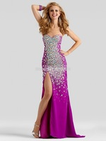 Sexy Side Slit Hot Sell Beaded Rhinestone Chiffon Prom Dresses Sweetheart Neckline Floor Length Court Train Lace Up