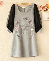 New 2014 Fashion Pregnant Women Dress Temperament Loose Plus Size O-Neck Half Sleeve Floral Print Dress 8028