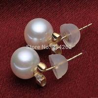 14K gold AAA+ 8-9mm round genuine freshwater pearl studs earring zircon Boutique Jewllery B22#