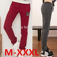 M/L/XL/XXL/XXXL size casual sport pants2014 winter Korea style plus size elastic waist women's sweatpants free shipping