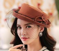 Wholesale 10pcs Vintage Ladies Winter Wool Felt Hats Women Occasion Trilby Caps Womens Spring Fedoras Cap Retro Lady Autumn Hat
