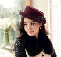 10pcs Nice Ladies Winter Occasion Wool Felt Hats Women Formal Trilby Caps Womens Spring Fedora Cap Retro Lady Fall Hat Headgear
