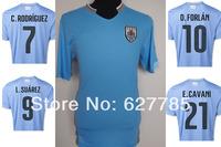 2014 Uruguay World Cup Home Blue Soeccer Jersey A+++ Thai Quality 14 15 Away Football Shirt L. SUAREZ CAVANI Free Shipping