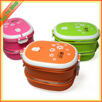 2014 High quality stainless steel bento box double layer thermal lunch box Japanese style container thermos for food
