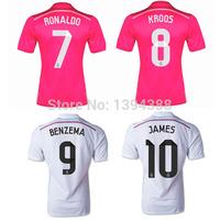 Thai AAA HOME AWAY Real Madrid Football shirt 2015,RONALDO JAMES KROOS BENZEMA 14 15 Real Madrid soccer Jerseys Football shirts