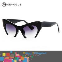 AEVOGUE with case Retro brand Cat Eye sunglasses women Good quality Eyewear classic sun glasses Half frame UV400 AE0184
