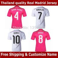 CRISTIANO RONALDO JAMES Real Madrid soccer jersey 2015,Thai AAA BALE RONALDO JAMES Real Madrid football shirt 14 15,Free Shiping