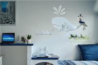 Funlife Cartoon Whale Animal DIY Plastic Nursery Decor Acrylic Mirror Wall Sticker For Kids Room Decoration MS361258