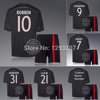 2014 15 Black Third Away Ribery Robben Lewandowski Gotze Football Kit Set of Jersey & kits Sports Outfits Soccer Shirt Uniform