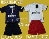 2015psg Children's shirts Top quality DAVID LUIZ 14 15 Kids jerseys CAVAN IBRAHIMOVIC LUCAS T.SILVA jersey boys girl's Football