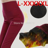 L-5XL size womens pants 2014 Korea style plus size elastic waist slim women fleece winter trousers pencil pants free shipping