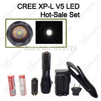 New E17 CREE XP-L V5 Pure White Zoom LED Flashlight Torch + 2PCS 18650 Battery + 1PC Dual Charger + 1PC Nylon Holster