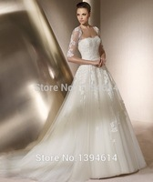Classical Strapless Half Cap Sleeves Appliques Wedding Dresses A-line Tulle Bridal Gowns Custom Size High Quality