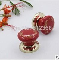 37mm ceramic Zinc Alloy gold silk flower red round single hole Kitchen Cabinet Knobs Handles Dresser Cupboard Door Knob Pulls