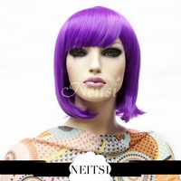 Neitsi Fashion Synthetic Hair Straight Short Wigs Cheap Full Lace Bob Wig Style Sexy Purple  For Cosplay Party Christmas Gift