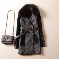 2014 Winter Women's blends coat FOX FUR knitted PU patchwork woolen medium-long overcoat female outerwear plug size 3XL clothing