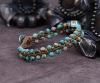 Boho Natural Jasper with Wax Cord Braided Bead Bracelet Adjustable Beaded Friendship Bracelets for women