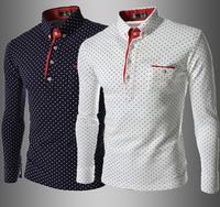 New Man's Blouse fashion Beautiful Small Dot,Outerwear Casual Shirts 2015 New brand design