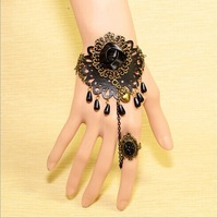 2014   new European and American fashion trend of retro inlaid black rose of love sunflowers shaped hollow bracelet   C174