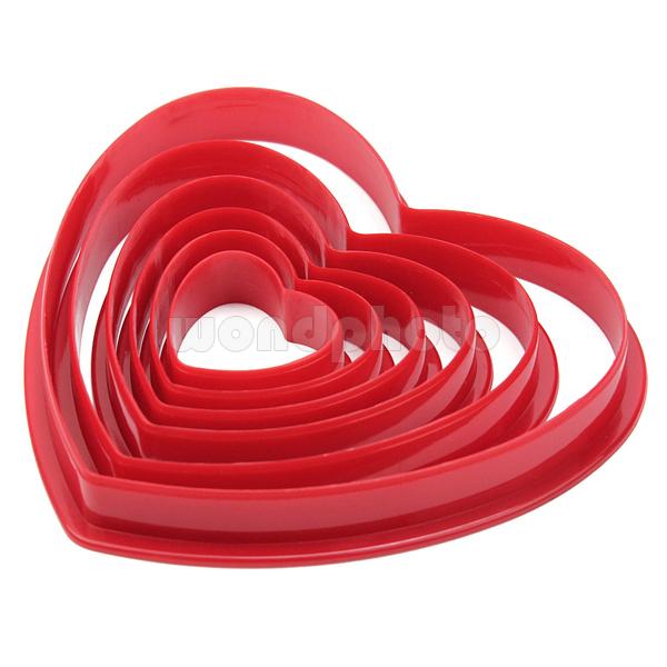 6 pcs plástico forma do coração do bolinho cortadores de biscoito Mold Mould conjunto de ferramentas de cozimento(China (Mainland))