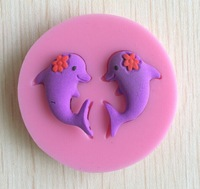 The two lovely small whales Silicone 3D  Mold Fondant Cake Decorating Tools, Mould,  Silicone Soap Mold, Cooking Tools-S054