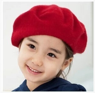 New Fashion Solid Color Warm Wool Winter Baby Girl Berets French Artist Beanie Hat Dome Cap 5 Colors(China (Mainland))