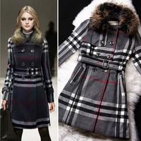 2014 Women Winter Women's Warm Thicken Wool Blends Long Jacket Coats + Turn Down Fur Collar, Woollen Female Designer Coats Grey