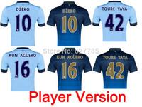 2015 City Player KOMPANY DZEKO KUN AGUERO LAMPARD SILVA TOURE YAYAH Home Manchester Soccer Jersey 14 15 Away Football Shirt