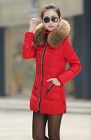 New 2014 jacket winter coat thicken Slim female raccoon fur collar and long coat women parka winter coat plus size S-4XL