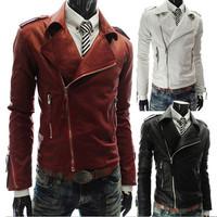 2014 Jacket Man Leather Jacket Turn-down Collar Men's Leather Motorcycle Jacket Winter Men Leather Jacket Coat AY657068