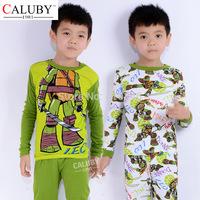2015 new winter cartoon cotton children pajamas set Ninja Turtles print kids sleepwear hot sale boys  homewear  4 sets lot