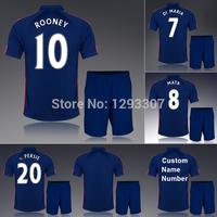 14 15 United Blue Away Soccer Kit Set Of Jersey & Short Men Sports Outfit Rooney Di Maria Mata Van Persie Football Shirt Uniform
