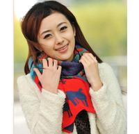 Women New Korea Fshion Deer Pattern Printed Cotton Red Unisex Spring Autumn Winter Bohemian  Scarf Scarves Wraps  1SC880