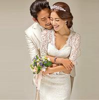2014 Korean version of the word shoulder Princess V-neck long-sleeved Slim trailing fishtail lace wedding dress factory direct w