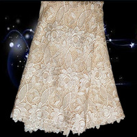 Design No.XG16-1!on sale african cotton cord lace fabric in beige color!good quality embroidered water soluble lace fabric !