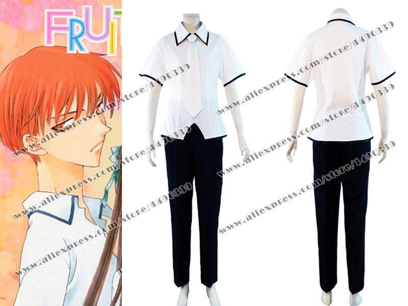 Fruits Basket Cosplay Costume Tohru Honda White Shirt Black Pants Boy Uniform Fast Shipping(China (Mainland))