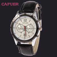 Free Shipping New Fashion CAFUER Brand Men Leather Watch Military Calendar Quartz Watch