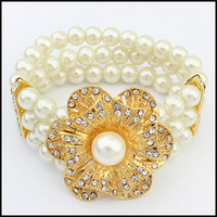 New 2014 Fashion Handmade Jewelry White Pearl Elastic Bracelets Gold Flower Multilayer Bangles For Women Free Shipping#111114