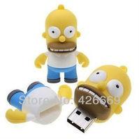 DHL Cute Cartoon Simpsons Homer 8GB 16GB 32GB 64GB 128GB 256GB 512GB USB Flash 2.0 Memory Drive Stick Pen Drive usb flash drive