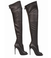 Fish Toe Leather Knee Boots For Women 2014 Latest Thigh High Zipper Booties Sexy Over Knee Boots