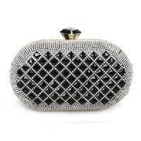 Luxury Women Gold Black Clutch Bag Rhinestone Evening Party Dress Handbags With Chain Shoulder Bags NightClub Purse Bags