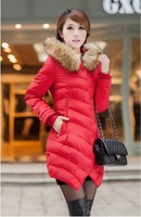 2014 jacket winter coat thicken Slim female raccoon fur collar and Long section of female fur collar casual cotton coatM-XXXL