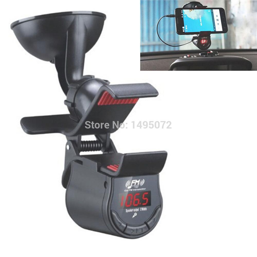Multifunctional Fixed Clip Handsfree Car Kit MP3 Player FM Transmitter w/Sucker(China (Mainland))
