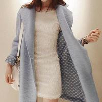 2014 New Winter Women Oversized Long Blue Stud Thick Warm Woolen Blends Blazer Outwear Jacket Coat Plus Size Free Shipping