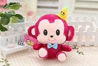 Monkey doll. Hight about 16cm. small. with a yellow hat.  Cute.Best animal toys gift.  IDA007